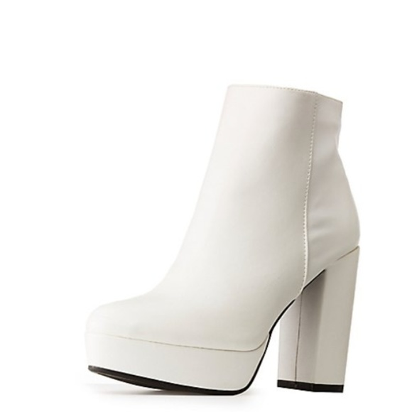 BAMBOO Shoes   White Ankle Booties